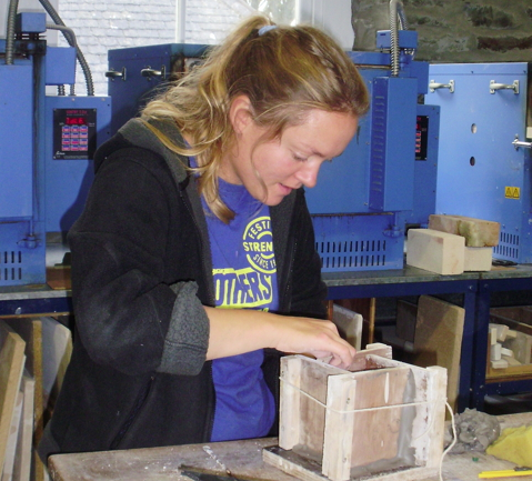Lisa Bate working in her studio